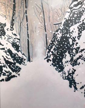 """Croton Point Landing Winter Acrylic"""